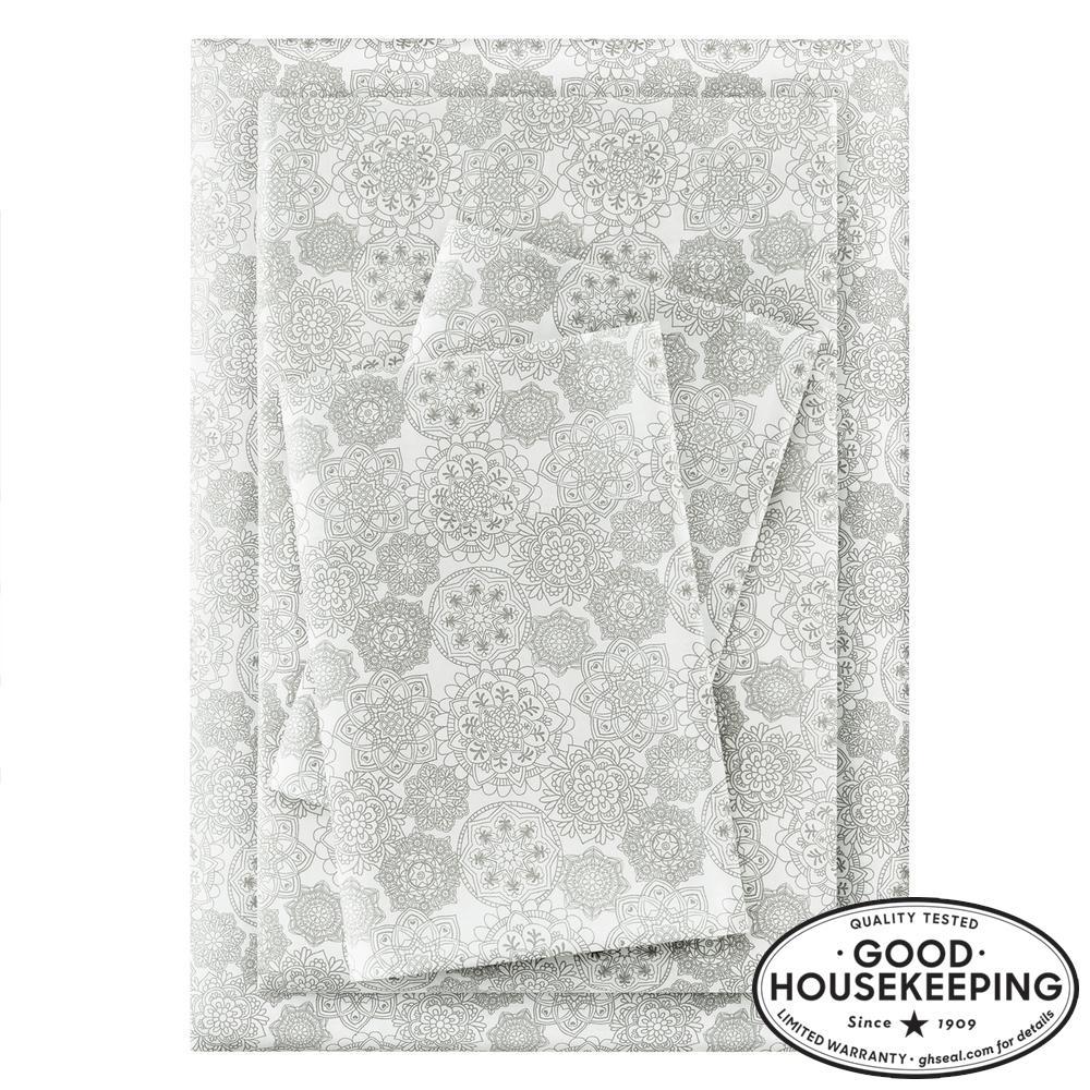 Brushed Soft Microfiber 3-Piece Twin XL Sheet Set in Stencil Moss