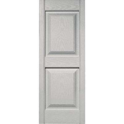 15 in. x 39 in. Raised Panel Vinyl Exterior Shutters Pair in #030 Paintable