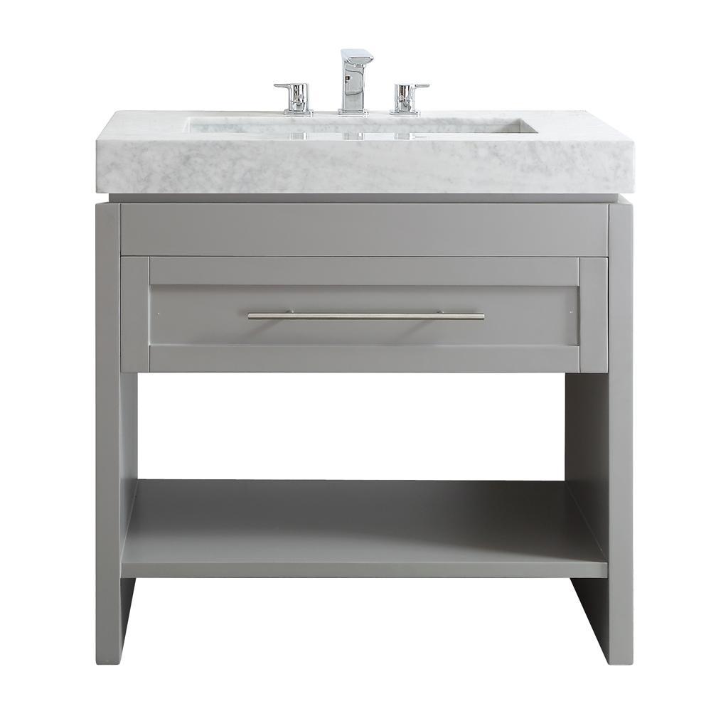 Bolzana 36 in. W x 23 in. D x 36 in. H Vanity in Grey with Marble Vanity Top in Carrara