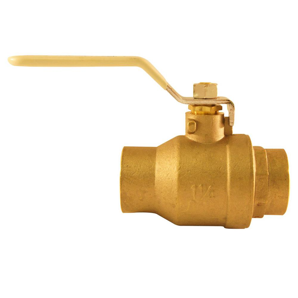 1-1/4 in Lead Free Brass SWT x SWT Ball Valve