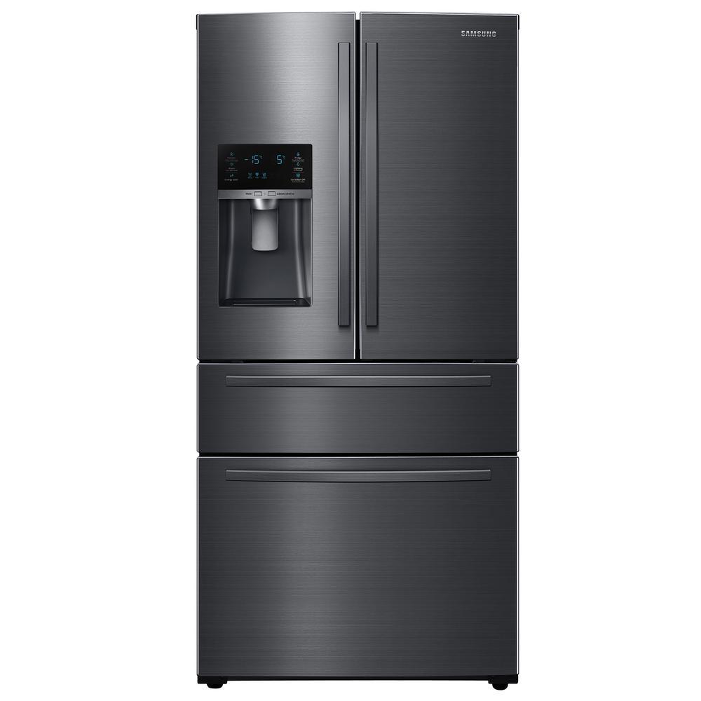 33 in. W 24.73 cu. ft. French Door Refrigerator in Fingerprint Resistant Black Stainless