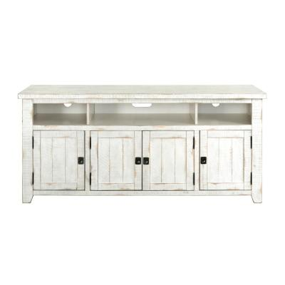 Foundry White Metal TV Stand Fits TVs Up to 70 in. with Adjustable Shelves