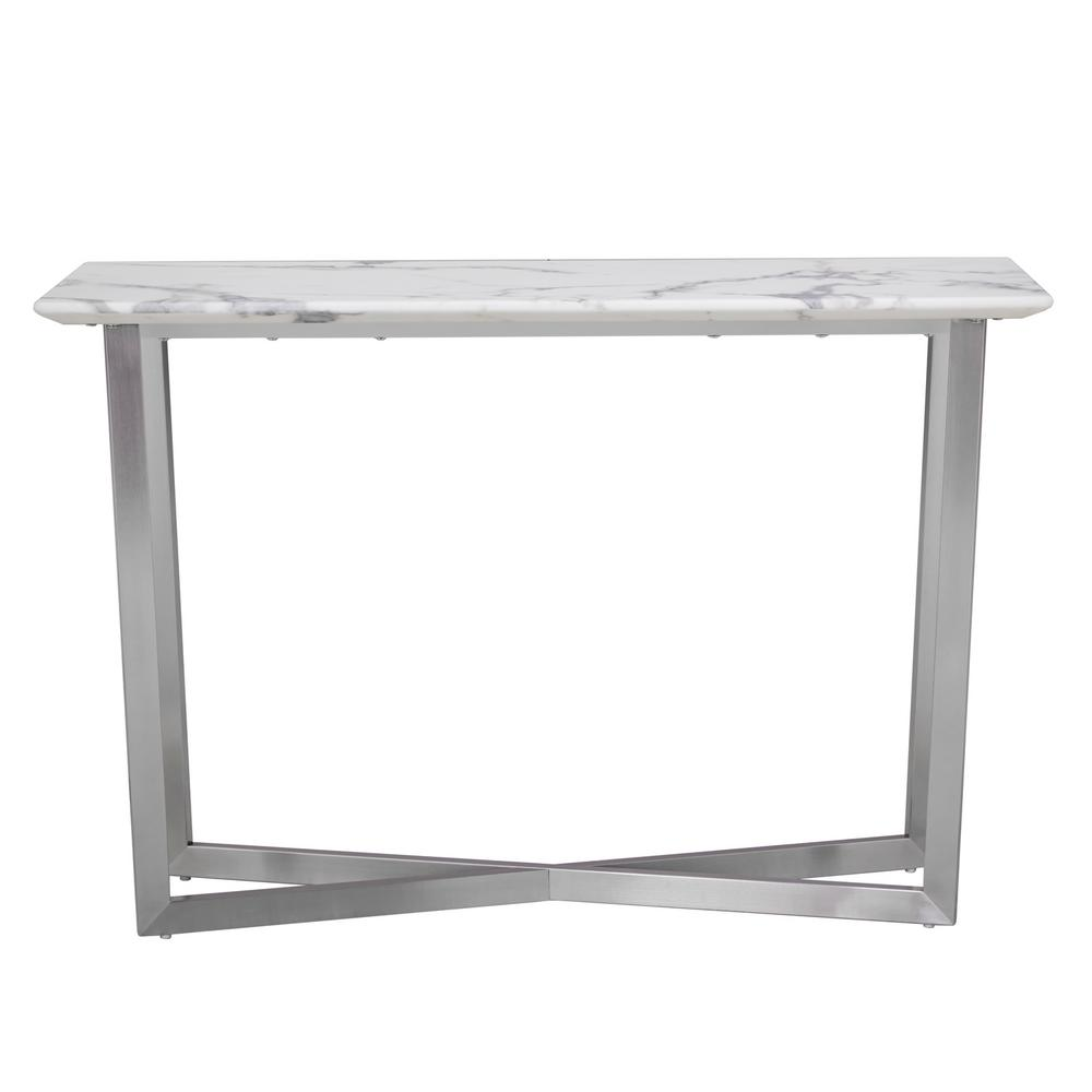 Southern Enterprises Abilene White Contemporary Faux Marble Console Table