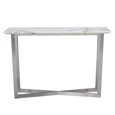 Abilene White Contemporary Faux Marble Console Table