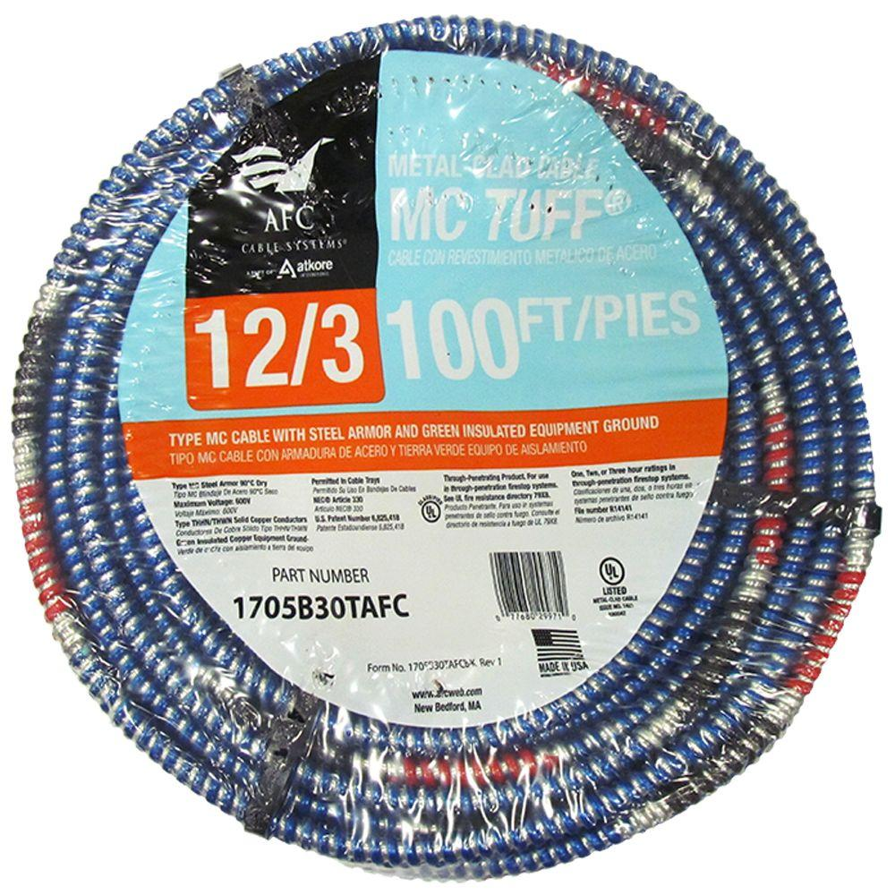 AFC Cable Systems 12/3 x 100 ft. Solid MC Tuff Cable