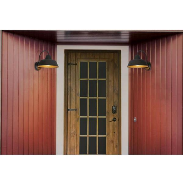 Sylvania Weymouth 1 Light Antique Black Outdoor Wall Mount Barn Light Sconce With Edison Led Light Bulb Included 60060 The Home Depot