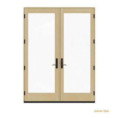 72 in. x 96 in. W-4500 Contemporary Vanilla Clad Wood Left-Hand Full Lite French Patio Door w/Lacquered Interior