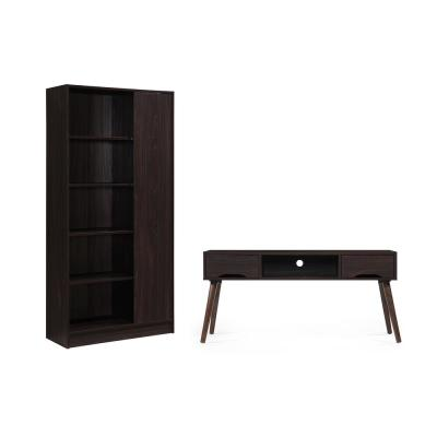47 in. Walnut MDF Entertainment Center with 2-Drawer Fits TVs Up to 47 in. with Media Cabinet