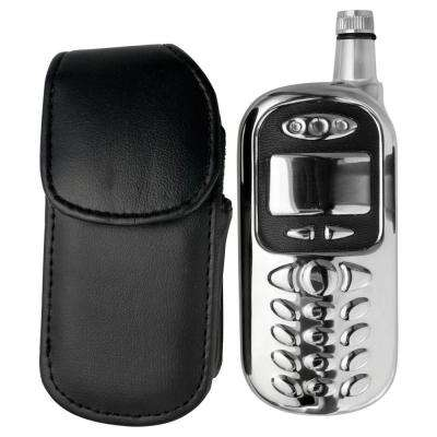 Sneak Cell Phone Stainless Steel 3oz. Liquor Flask with Leather Pouch