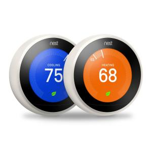 Nest 3rd Generation 7 Day Programmable Learning Wi-Fi Thermostat, White, (2 -... by Nest