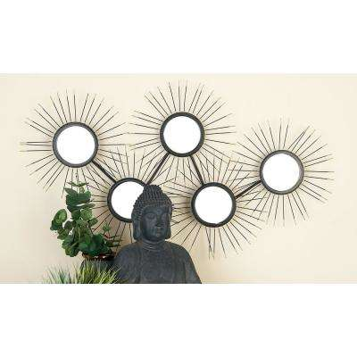 Modern Round Wall Mirrors with Black Iron Bursts