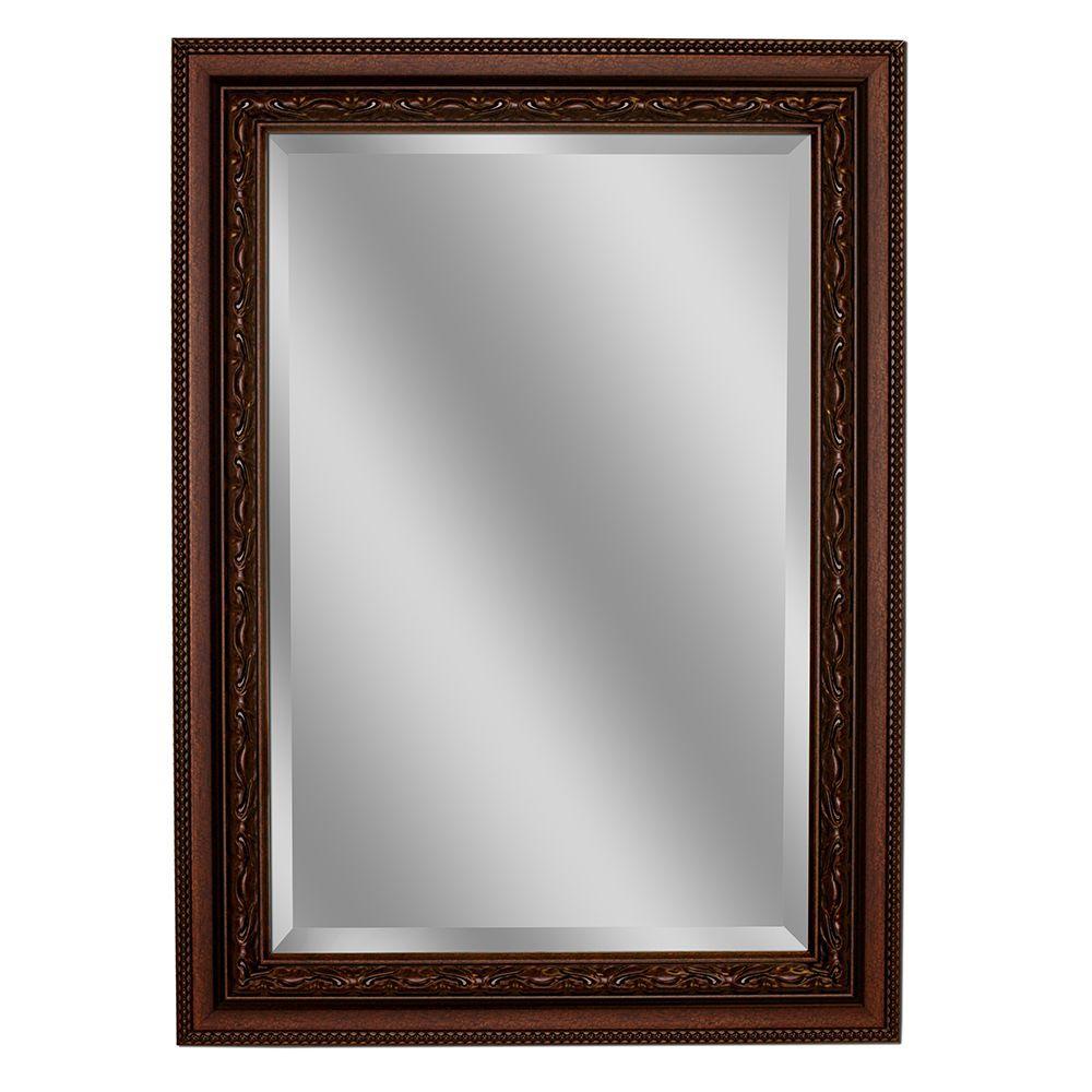 Deco Mirror Addyson 30 inch x 36 inch Single Framed Wall Mirror in Copper by Deco Mirror
