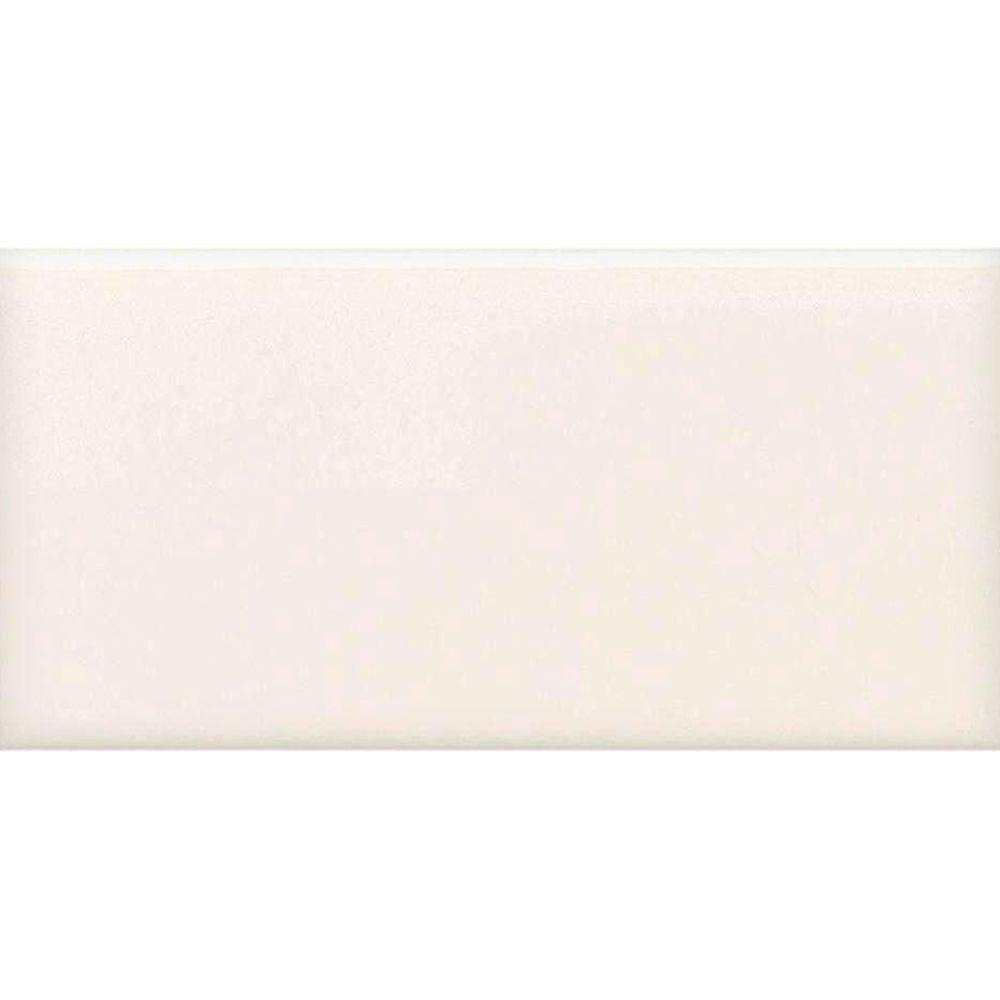 Daltile Semi-Gloss White 2 in. x 6 in. Ceramic Bullnose Cap Wall Tile (0.083 sq. ft. / piece)