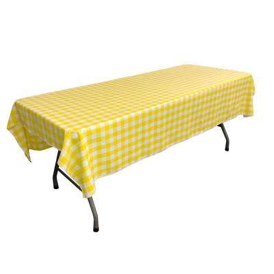 60 in. x 90 in. White and Light Yellow Polyester Gingham Checkered Rectangular Tablecloth