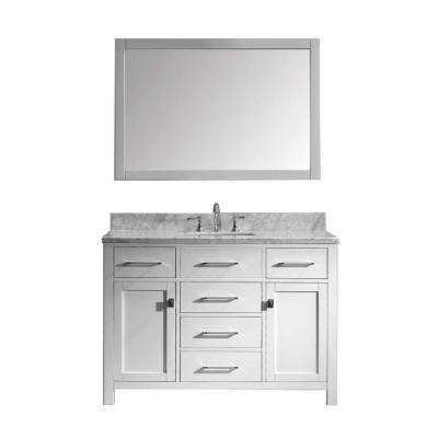 Virtu USA Caroline 49 in. W Bath Vanity in White with Marble Vanity Top in White with Square Basin and Mirror