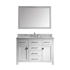 Virtu USA Caroline 48 inch W x 36 inch H Vanity with Marble Vanity Top in Carrara White with White Square Basin and... by Virtu USA