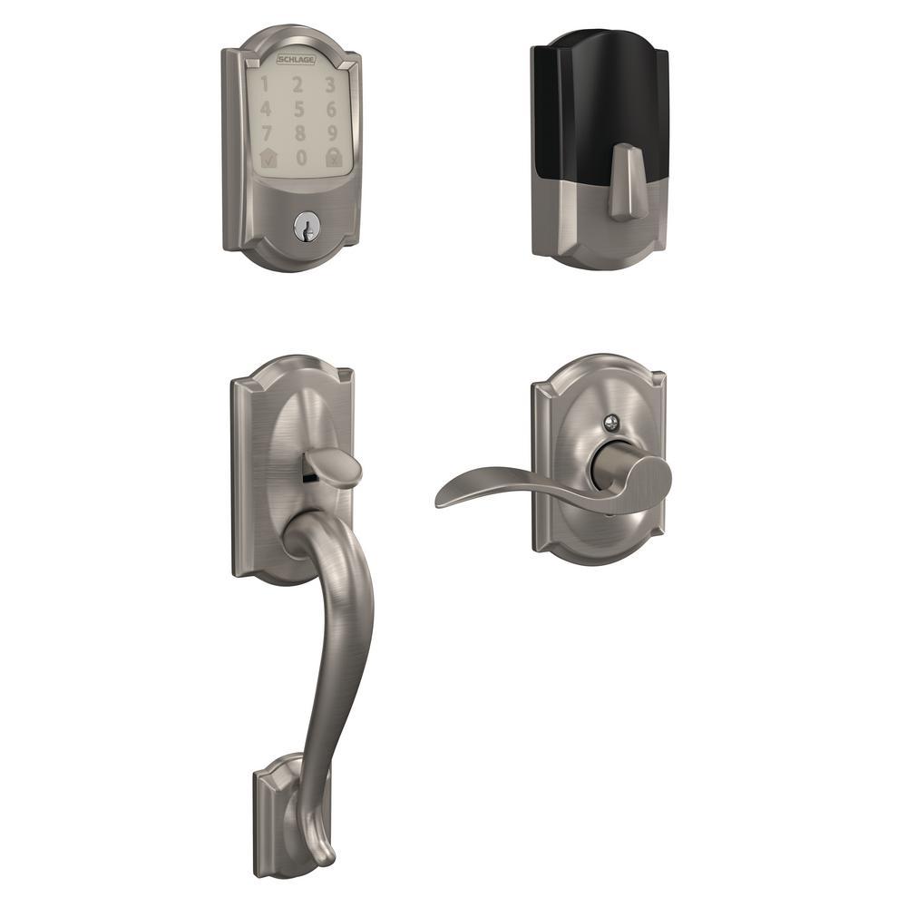 Schlage Camelot Encode Smart Wifi Door Lock with Alarm and Accent Lever Handleset in Satin Nickel