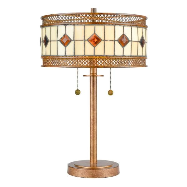 23.25 in. Rustic Bronze Table Lamp with Hand Rolled Art Glass and Metal