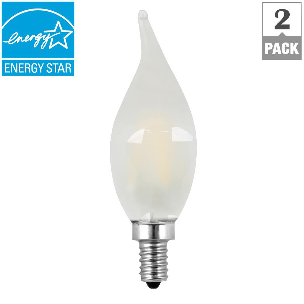60W Equivalent Soft White (2700K) CA10 Dimmable Filament LED Candelabra Base