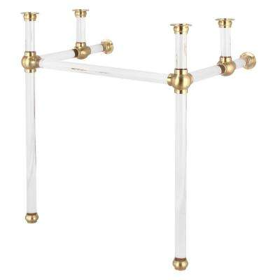 Empire 30 in. Acrylic Wash Stand Legs with Satin Brass Connectors and P-Trap Kit