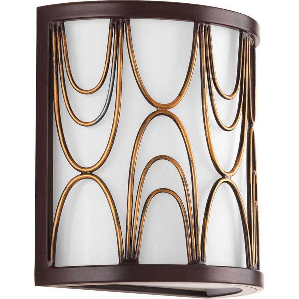 Progress Lighting Cirrine Collection 1-Light Antique Bronze Wall Sconce with Etched White Glass  sc 1 st  Home Depot & Progress Lighting Cirrine Collection 1-Light Antique Bronze Wall ...