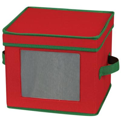 Holiday Salad Plate/Bowl Chest Red with Green trim
