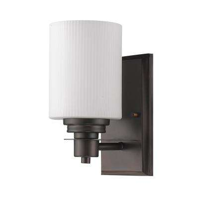 Amelia 1-Light Oil-Rubbed Bronze Sconce with Ribbed Glass Shade