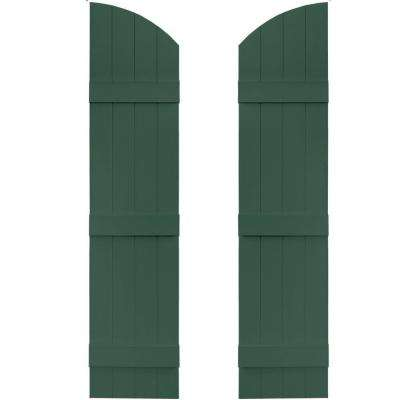 14 in. x 57 in. Board-N-Batten Shutters Pair, 4 Boards Joined with Arch Top #028 Forest Green