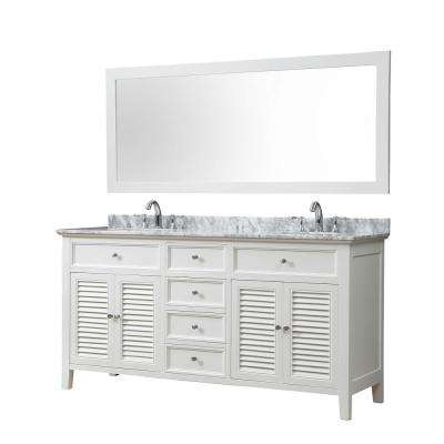 Shutter 70 in. Bath Vanity in White with White Carrara Marble Vanity Top with White Basins and 1 Large Mirror