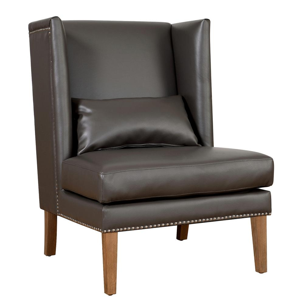 Charmant TOV Furniture Chelsea Grey Leather Wing Chair
