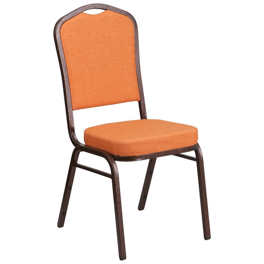 Orange Fabric/Copper Vein Frame Stack Chair