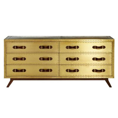 Large 6-Drawer Brass-Plated Wood Chest with Leather Handles, 64 in. x 30 in.