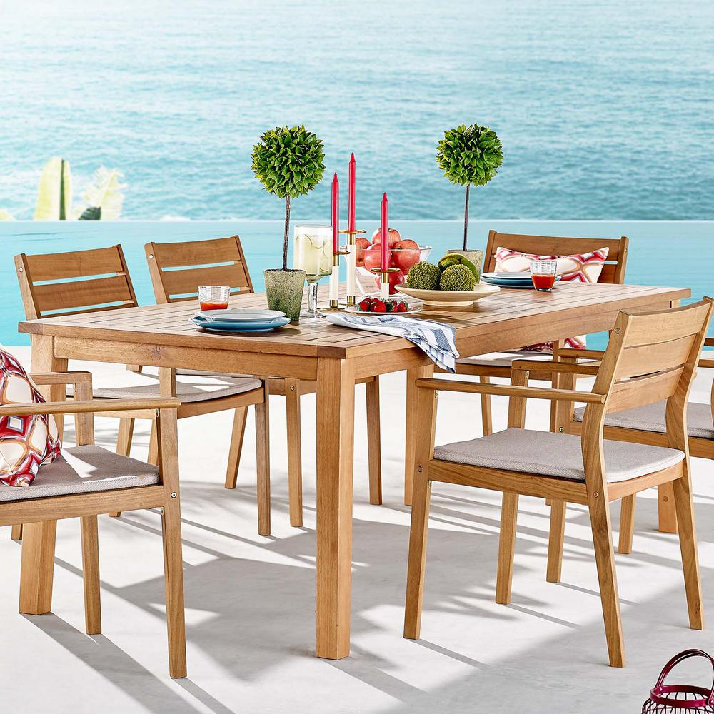 MODWAY Farmstay Natural 79 in. Teak Wood Outdoor Dining ...