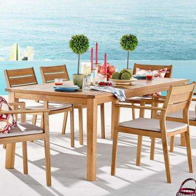 Farmstay Natural 79 in. Teak Wood Outdoor Dining Table