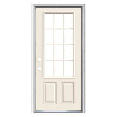 32 in. x 80 in. 12-Lite Primed Steel Prehung Right-Hand Inswing Prehung Front Door with Brickmould