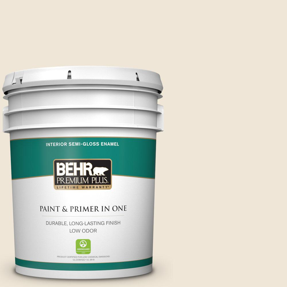 BEHR Premium Plus 5 gal  #710C-1 Parchment Paper Semi-Gloss Enamel Low Odor  Interior Paint and Primer in One