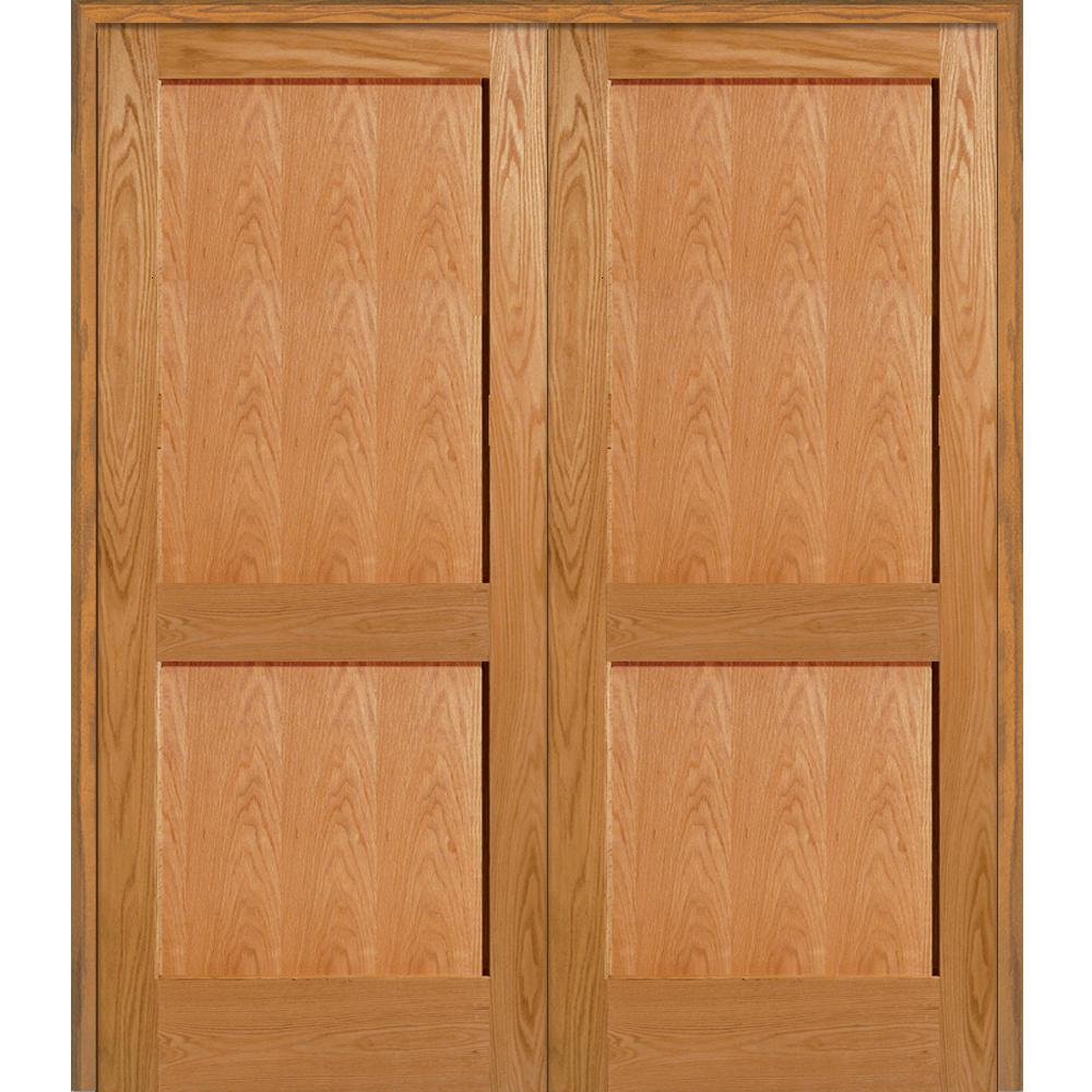 Mmi Door 60 In X 80 In 2 Panel Flat Square Sticking Unfinished Red Oak Wood Both Active Solid