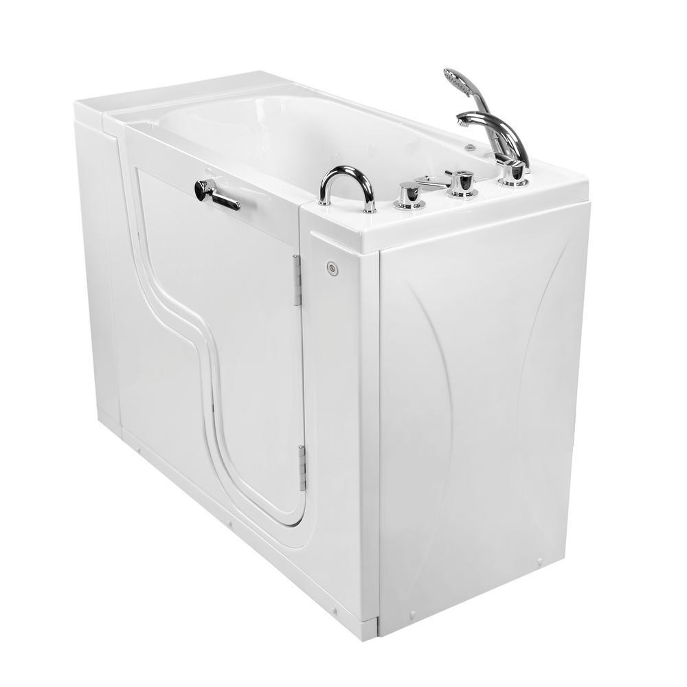 Wheelchair Transfer26 52 in. Acrylic Walk-In MicroBubble Air Bath Bathtub in White, Faucet, Heated Seat,Right Dual Drain