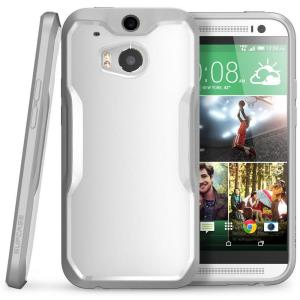 SUPCASE Unicorn Beetle Hybrid Bumper Case for HTC One M8, White/Gray by