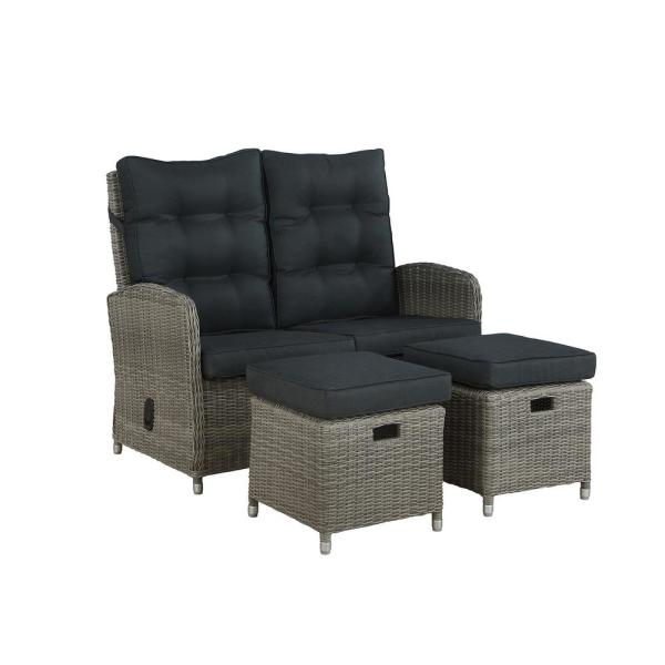 Monaco 3-Piece All-Weather Wicker Outdoor Reclining Loveseat with Dark Gray Cushions