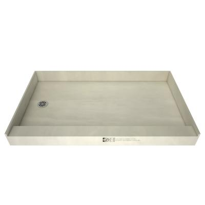 Redi Base 42 in. x 60 in. Single Threshold Shower Base with Left Drain and Polished Chrome Drain Plate