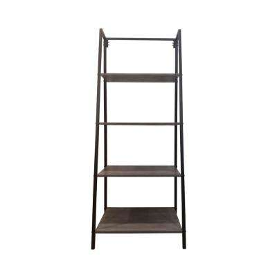 Euclid Industrial Gray 4-Tier Faux Wood Shelf with Black Iron Frame