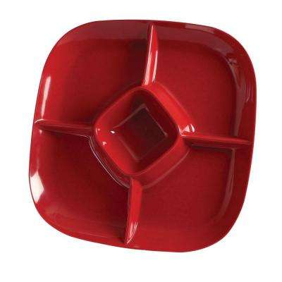 Jazz 15 in. x 15 in. Chip And Dip Platter, 1-3/4 in. Deep in Red (1-Piece)