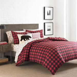 Mountain 3-Piece Scarlet Red Plaid Cotton Full/Queen Comforter Set