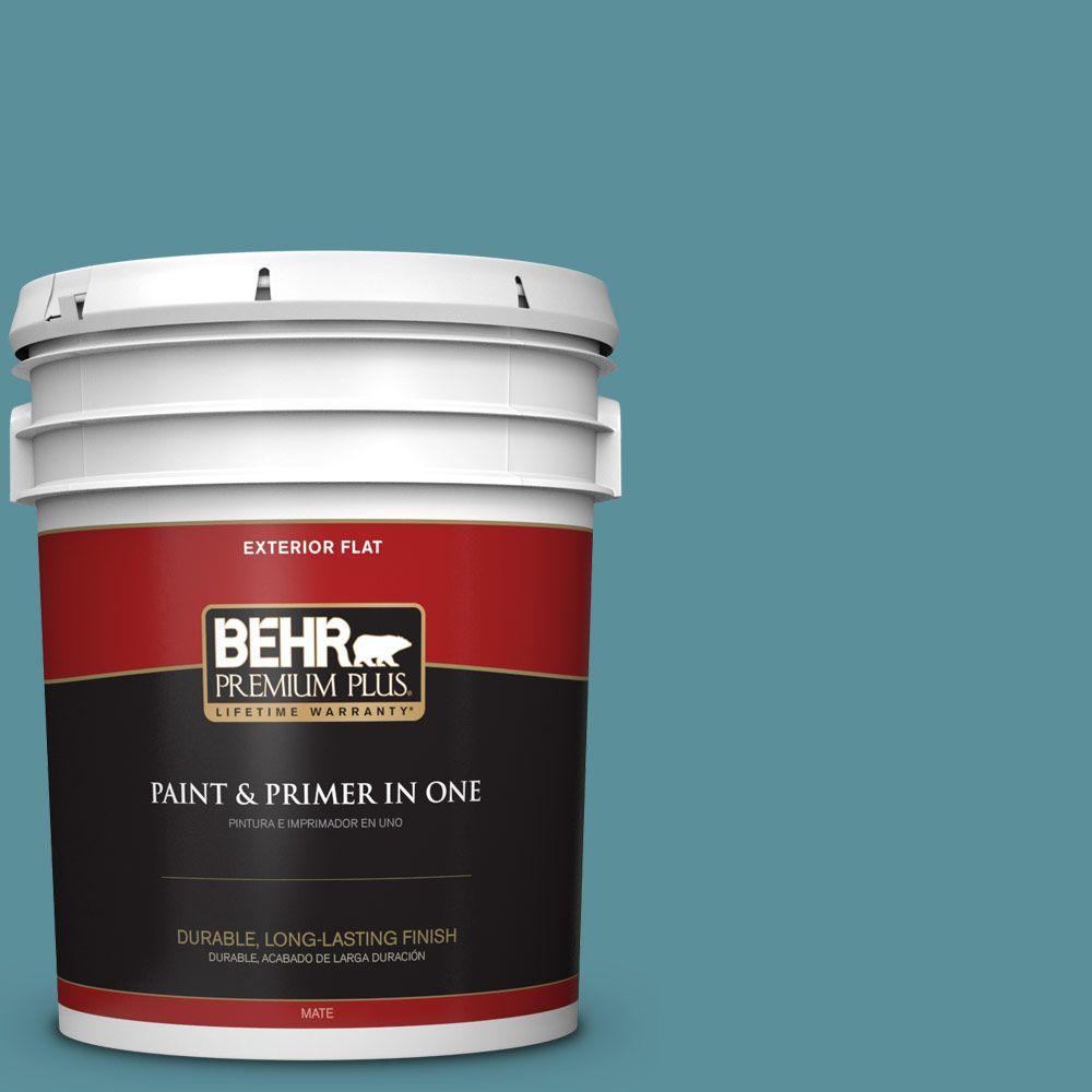 BEHR Premium Plus 5-gal. #520F-5 Harbor Flat Exterior Paint