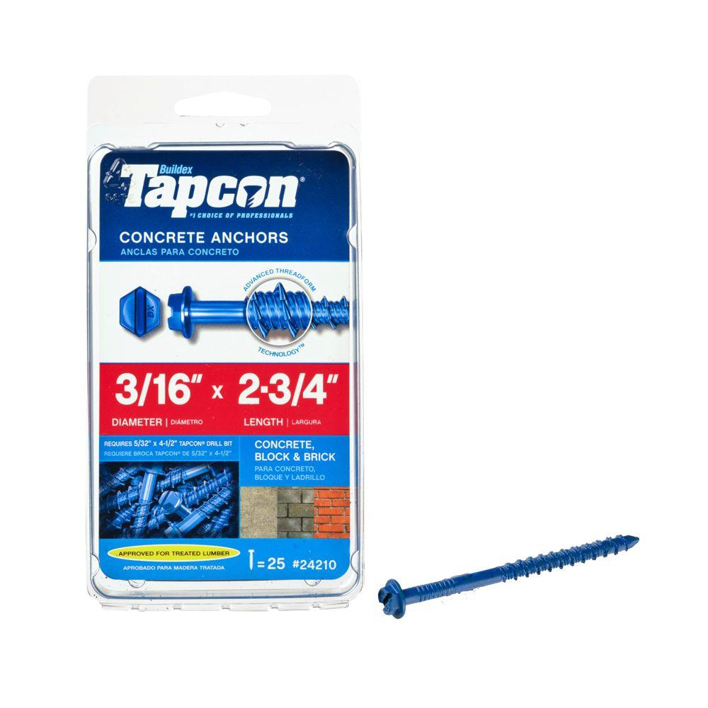 Tapcon 3/16 in. x 2-3/4 in. Hex-Washer-Head Concrete Anchors (25-Pack)