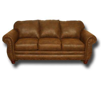 Sedona Collection Brown Pinto Microfiber Sofa with Nail Head Accents