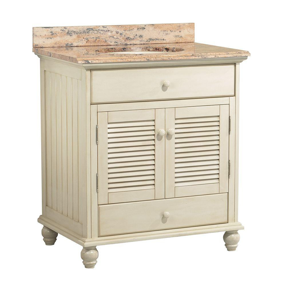 Foremost Cottage 31 in. W x 22 in. D Vanity in Antique White with Vanity Top and Stone Effects in Bordeaux