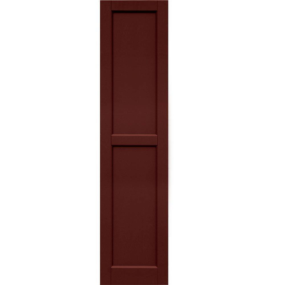 Winworks Wood Composite 15 in. x 63 in. Contemporary Flat Panel Shutters Pair #650 Board and Batten Red