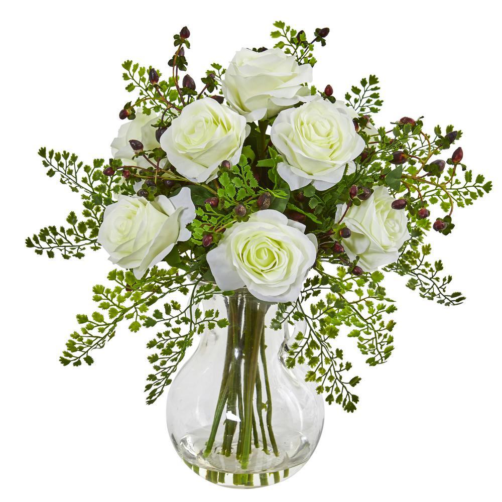 Indoor Roses and Maiden Hair Artificial Arrangement in Glass Vase